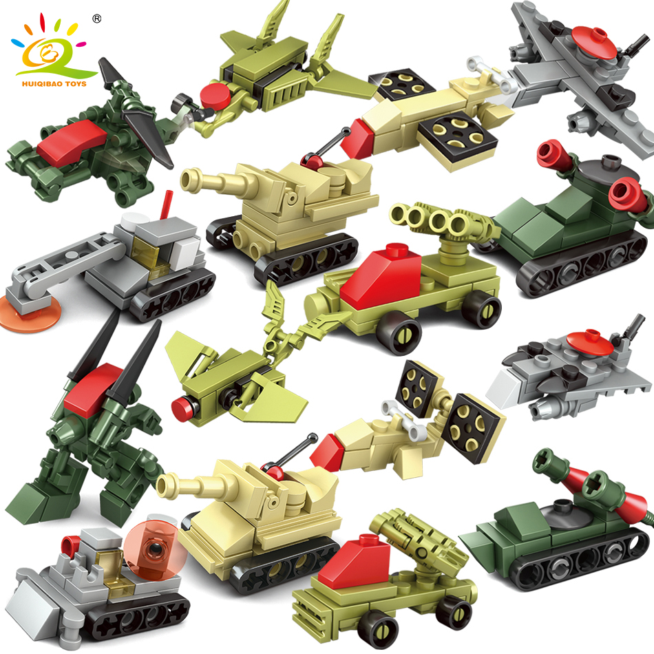 8Sets Mini Trucks Helicopter Vehicles Military Building Blocks WW2 DIY Army Compatible Legoed City Weapon Toys For Children Boy