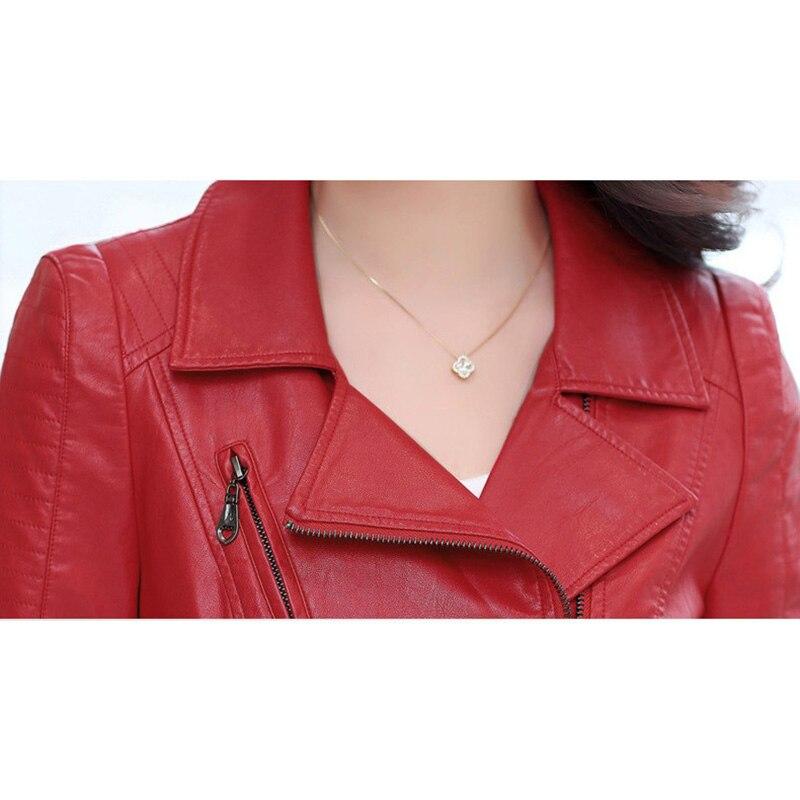 Cuir Black Mince red 2018 Court En Et Mode Femme Odfvebx Était Femmes Grande Printemps Boutique Moto Manteau Blouson Taille Automne dXwq8HUnx