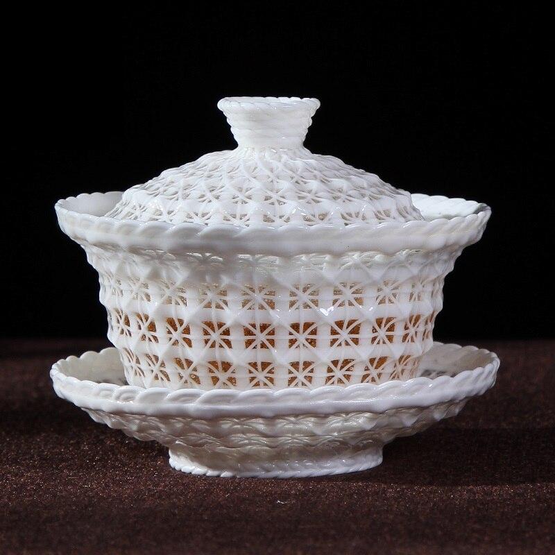 180ML Creative Ceramic Hollow Gaiwan Office Kung Fu Tea Set Master Tea Bowl with Lid Saucer Kit Teaware Teapot Sent Friend Gift