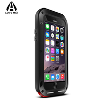 LoveMEI מותג עבור iphone 6 מקרה 360 תואר אלומיניום מתכת טלפון כיסוי עבור iphone 6 s בתוספת גוף מלא יוקרה מקרה טלפון עמיד הלם