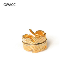 GWACC 2019 Metal Brass Gold Color Tree Leaf Pattern Rings For Women Girls INS Style Creative Design Geometric Trendy Brass Rings rome style pom poms and geometric pattern design sandals for women