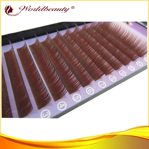 Christmas Free shipping wholesale cosmetic fashion world beauty lashes red brown color synthetic faux mink eyelash extensions