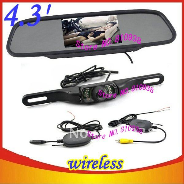 "New Wireless 4.3"" Color mirror Monitor Car Rear View Camera 4.3 inch vehicle system"