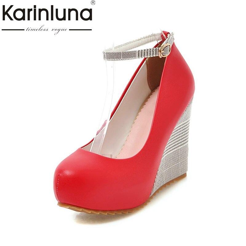 Karinluna 2018 Spring Autumn Fashion Gingham High Quality Women Pumps Big Size 33-43 Comfortable High Wedges Shoes Woman