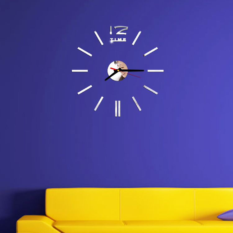 ①Nuevo DIY acrílico moda creativo Reloj de pared mudo espejo ...