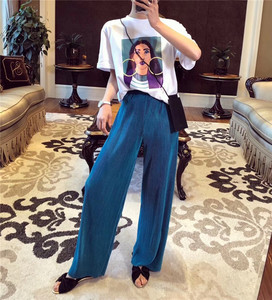 Image 1 - Calça larga feminina vintage, calça feminina de cintura alta comprimento total plissada, macia e solta para verão e primavera, nova moda, 2019 calças para senhoras
