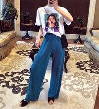 Pantalon Vintage taille haute, jambes larges, nouvelle mode pour femme, plissé, ample, doux et fin, complet, printemps été, 2019