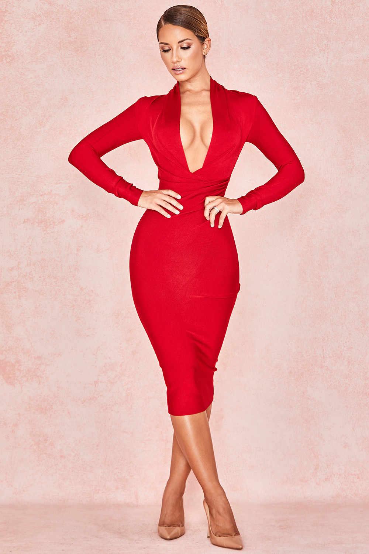 2019 v-образным вырезом Длинные рукава цвета: красный и коричневый, белый, бордовый, черный Бандажное платье Осень-весна пикантные вечерние Bodycon Оптовая женщи