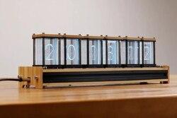 EleksTube الخيزران 6 بت كيت الوقت الإلكترونية LED قلادة متوهجة ومضيئة Nixie أنبوب ساعة الوقت الذباب الفاصل