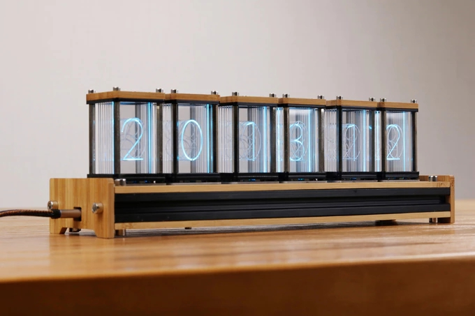 EleksTube Bamboo 6-Bit Kit Time Electronic LED Luminous Glow Nixie Tube Clock Time Flies Lapse
