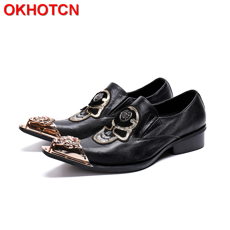 Black Genuine Leather Men Shoes Embroidered Metal Pointed Toe Dress Shoes Men Cow Suede Formal Shoes Fashion New Mocassin Homme new 2018 fashion men dress shoes black cow leather pointed toe male oxfords business shoes lace up men formal shoes yj b0034