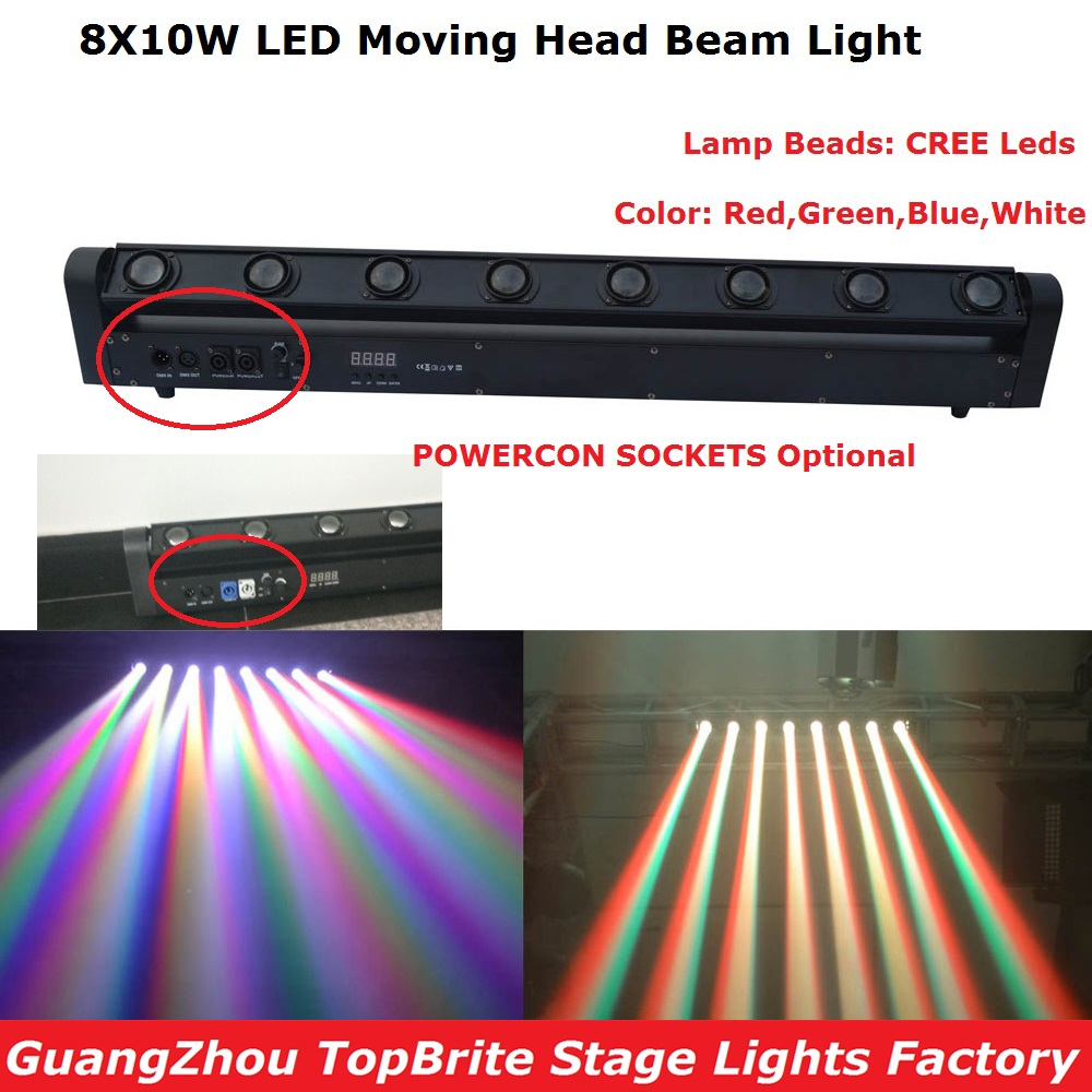 2017 Newest 1 Pack 8X10W LED Bar Beam Moving Head Stage Light High Power 150W LED Rotation Beam Lights With 5/14 DMX Channels