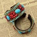 Moda handmade braid luxo pedra natural grânulos de turquesa flor grande bohemian bangle pulseiras jóias indiano