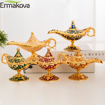 ERMAKOVA Large size Colorful Metal Genie Magic Lamp Retro Wishing Oil Lamp Pot Incense Burner Home Decor Collection Souvenir 1