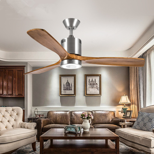 European Antique Ceiling Fan Light Simple Living Room American Coffee Led Solid Wood