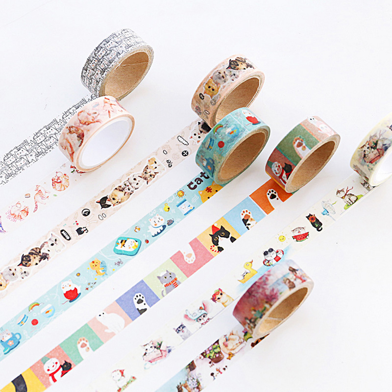 1.5cm*5m Cat Trip family washi tape DIY decoration scrapbooking planner masking tape adhesive tape label sticker stationery large 24x24 cm simulation white cat with yellow head cat model lifelike big head squatting cat model decoration t187