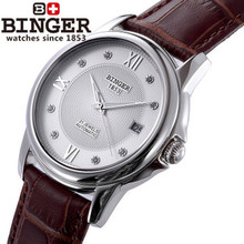 New men Binger watches classic Roman scale thin man watch luxury brand brown leather watches business casual fashion wristwatch
