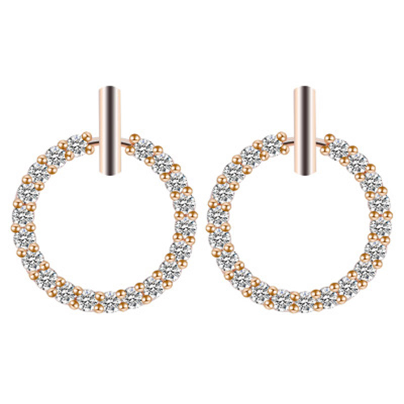 2019 New Fashion Shining Zircon Small Round Circle Stud Earrings For Women Girls Ear Wedding Jewelry Birthday Gifts WD180 in Stud Earrings from Jewelry Accessories