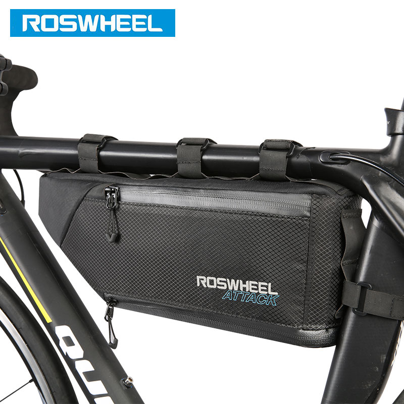 ROSWHEEL Bicycle Bag Water Bike Frame Corner Tube Triangle Pouch Bycicle Cycling Bags Accessories 4L Volume Extendable 121371 roswheel attack series waterproof bicycle bike bag accessories saddle bag cycling front frame bag 121370 top quality