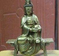 China Temple Copper Bronze Kwan yin Guan yin Bodhisattva Buddha Sit Wooden bench
