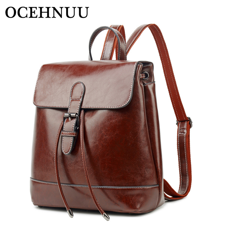 OCEHNUU Luxury Ladies Bag Backpack Female Bagpack School Mochila Woman Backpacks Genuine Leather Bag High Quality
