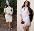 На заказ белый / кот Большой размер свадебное платье оболочка три четверти рукавом длиной до колен с коротким свадебные платья пляж свадебные платья