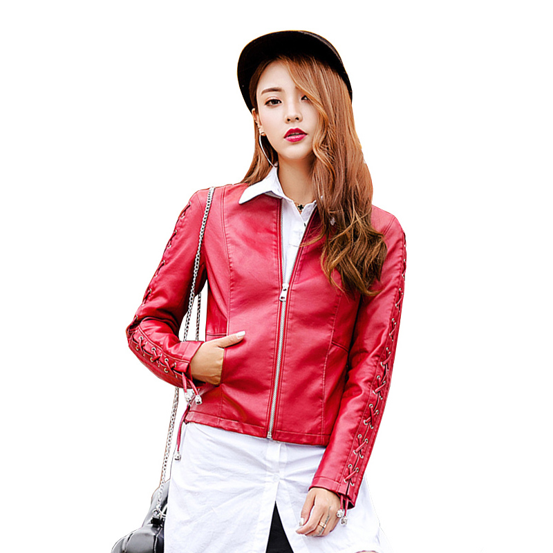 Fashion Bandage Design Faux   Leather   Jacket Women Short Zipper Biker Jacket 2019 New Arrival Round Neck Motorcycle PU Coat