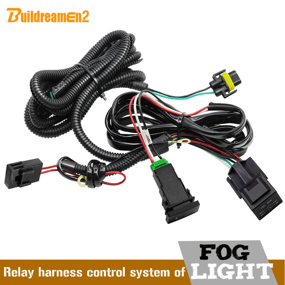 small resolution of buildreamen2 car h11 fog light wiring harness kit with 40a 12v on off switch relay