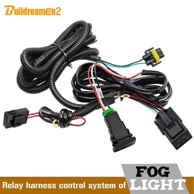 Buildreamen2 Car H11 Fog Light Wiring Harness Kit with 40A 12V ON/OFF Switch Relay Fuse For Ford Dacia Peugeot Citroen Renault