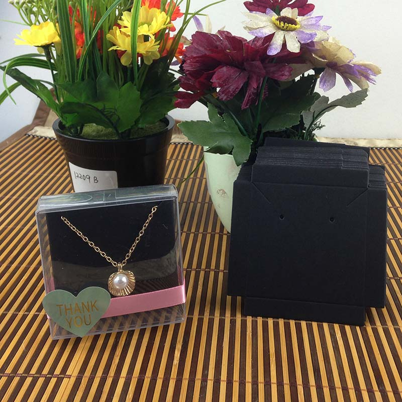 1Lot-50-box-50-pcs-inner-Card-65x65x30mm-White-Black-Kraft-Necklace-Earring-BOX-BOXEarring-Necklace