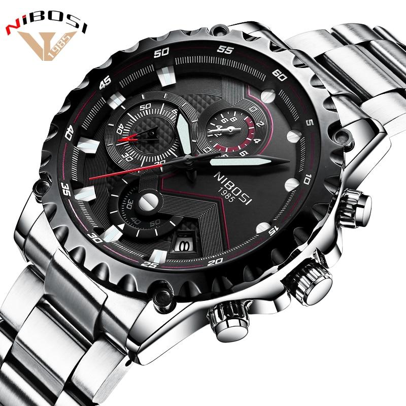 541c757fede Relógios militar Homens Quartz Analógico Data Hora do Relógio Dos Homens  Relógios Relogio Masculino Nibosi Esportivo