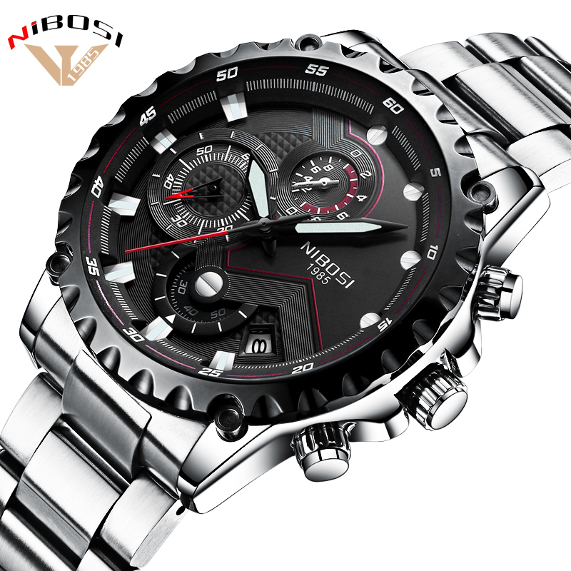 Military Watches Men Quartz Analog Men Watches Stainless Steel Time Date Clock Men Luxury Brand Hot Famous Brand Watches NIBOSI