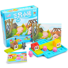 Montessori Toys With Challenges story of pigs and wolf logic Thinking Motor Skills Three Little Pigs gift for kids