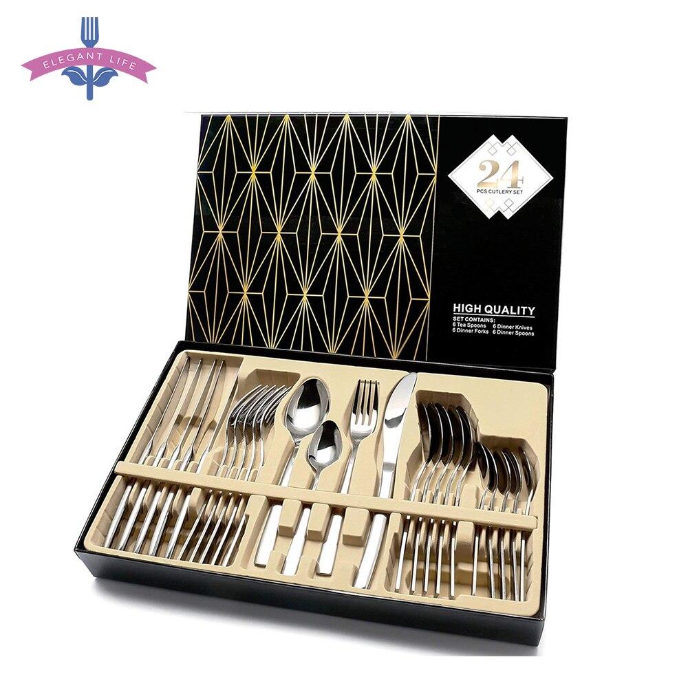 24 conjuntos de talheres de aço inoxidável de polimento de espelho de alta qualidade dos pces talheres talheres talheres colheres/facas com caixa de presente