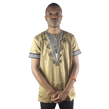 Africa Asymmetric Embroidery Men`s Dashiki Tops Henley Collar Ethnic Shirts For Male Summer Wearing