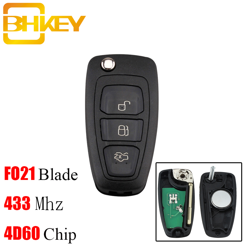 BHKEY 433Mhz 3Button Remote Car key For Ford 4D60/4D63 Chip  For Ford Focus Mondeo1999-2007 FO21 Blade Car keysBHKEY 433Mhz 3Button Remote Car key For Ford 4D60/4D63 Chip  For Ford Focus Mondeo1999-2007 FO21 Blade Car keys