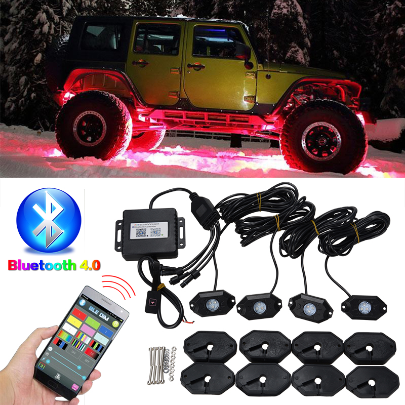 RACBOX 4PC Set RGB LED Rock Light With Cree Chips Under Car Led Light Bluetooth For Automobile Offroad SUV 4WD ATV Boat Vehicle-in Decorative Lamp from Automobiles & Motorcycles    1