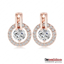 LZESHINE New Big Sale Wedding Jewelry Sets for Women Rose Gold Color Necklace and Earring Set