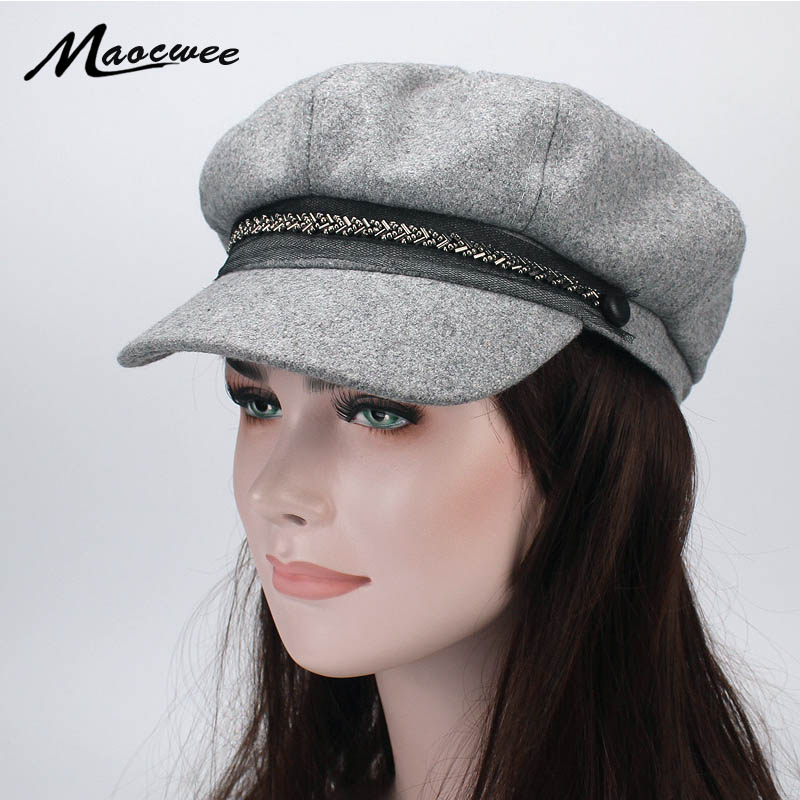 Lady Berets Hat for Winter Knitted Cotton Hats With Lining Top Quality Beret Cap Hat for Women Beret Octagonal cap newsboy caps