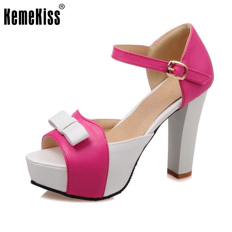 New Brand Women High Heel Sandals Fashion Bowtie Open Toe Platform Shoes Wmoan Thick Heeled Ladies Footwear Size 34-43 PA00769 женские сандалии brand fashion women s shoes fashion women high heel sandals