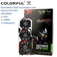 Original Colorful iGame 1060 U 3GD5 Top Graphics Card GeForce GTX 1060 GPU Chip 192bit 3GB GDDR5 120W Three Fans Cooling Fan
