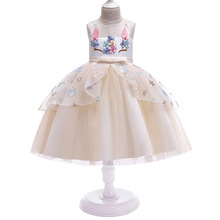 New Girls Unicorn Sequin Dress Headdress Kids Cute Cartoon Ball Gown Children Birthday Party Princess Dresses For Clothes