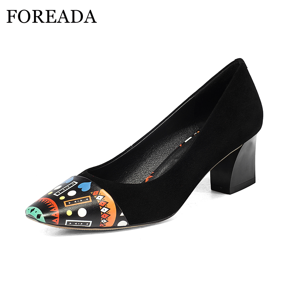 FOREADA High Heels Shoes 2018 Spring Genuine Leather Women Pumps Graffiti Party Shoes Pumps Black Big Size 42 43 Slip On Shoes artmu women high heels shoes two kinds of wear methods shoes female handmade leather shoes women pumps slip on shoes