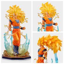 Anime dragon ball super saiyan 3 filho gokou pvc figura de ação collectible modelo brinquedo 18cm kt2841
