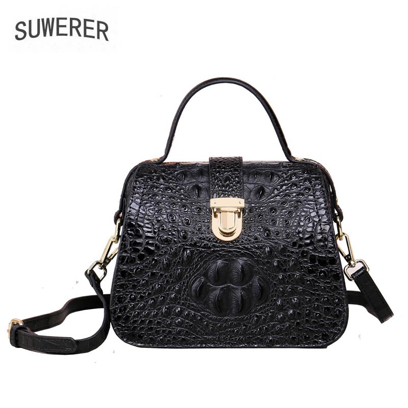 2017 new fashion crocodile pattern handbag Retro shoulder Messenger bag Women's handbag Small square bag 2017 new national wind aslant handbag embroidered flowers small square bag rivet shoulder bag
