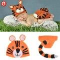 Malha Bebê Chapéu Projeto Do Tigre & Cauda Longa Calças Trajes Outfits Newborn Fotografia Props Crochet Animais Infantil Foto Props