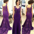 New Fashion Purple O-Neck Mermaid Long Evening Dresses Plus Size Sleeveless appliques Prom Gown Vestido de noche Abendkleide
