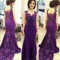 New Purple Fashion O-cuello de La Sirena Largos Vestidos de Noche Más El Tamaño Sin Mangas apliques de Baile Vestido Vestido de noche Abendkleide