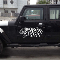 A Pair Car Animal Tiger Head Stripe Door Decal for Wrangler Vinyl Motor Sticker Handsome And Cool Stickers