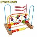 Contando UTOYSLAND Frete grátis Fruit Bead Labirinto Fio Montanha Russa De Madeira cedo Brinquedo Educativo para As Crianças Do Bebê Chilrden